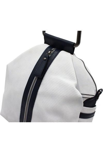 Miami Polo 1256 Kadın Sırt Çanta Kadın El ve Omuz Çanta Beyaz-Laci
