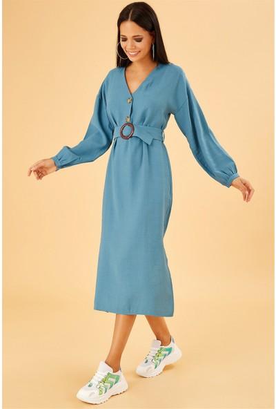Ayakkabı Delisiyim Kendinden Kemerli Yandan Yırtmaçlı V Yaka Mavi Elbise