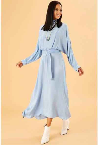 Ayakkabı Delisiyim Midi Boy Uzun Kollu Mavi Elbise