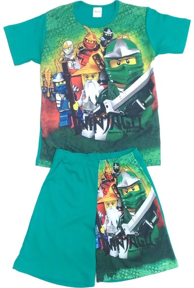 Ninjago Yeşil Penye Erkek Çocuk Şortlu Takımı