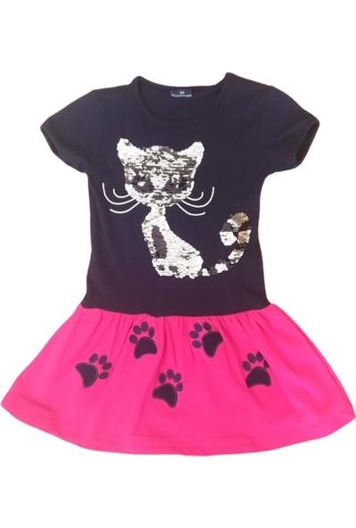 George Pullu Kedili Lacivert-Pembe Kız Çocuğu Elbisesi-LP-116