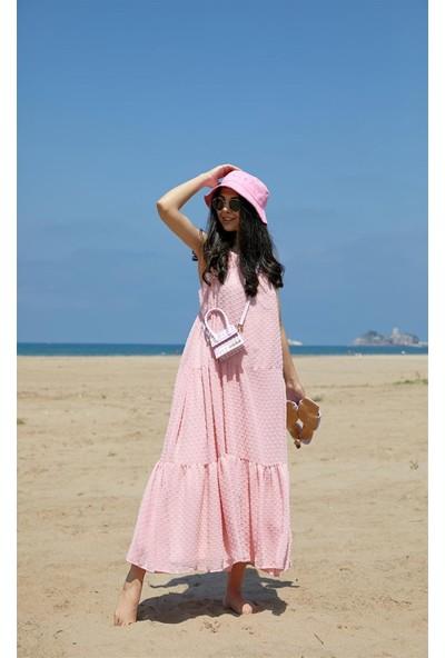 Seda Yalçın Atelier Pembe Pıtırcık Kumaş Askılı Elbise