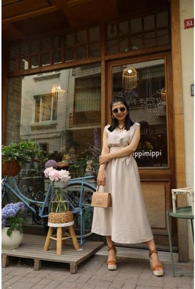 Seda Yalçın Atelier Bej V Yaka Basic Kolsuz Elbise