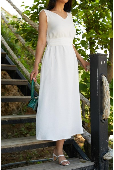 Seda Yalçın Atelier Beyaz V Yaka Basic Kolsuz Elbise