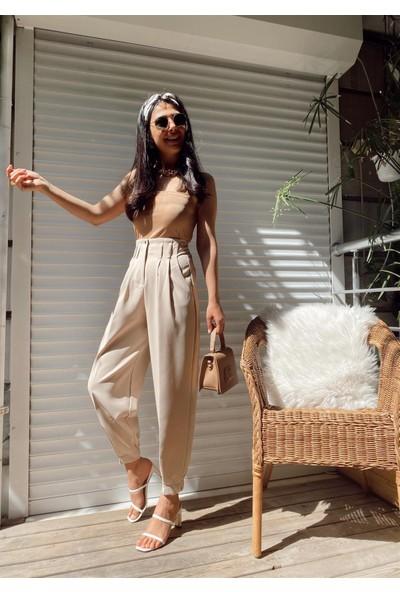 Seda Yalçın Atelier Taş Yüksek Bel Paçası Pileli Pantolon