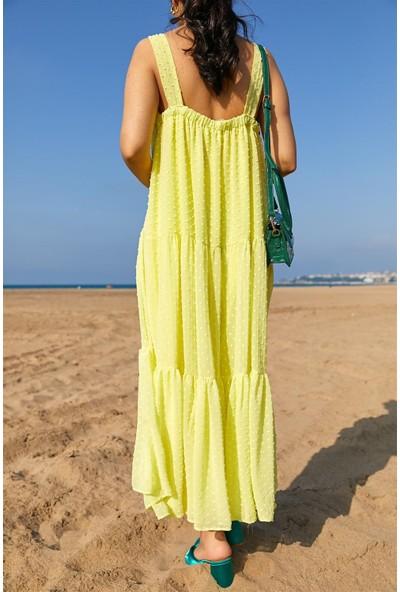 Seda Yalçın Atelier Sarı Pıtırcık kumaş Askılı Elbise
