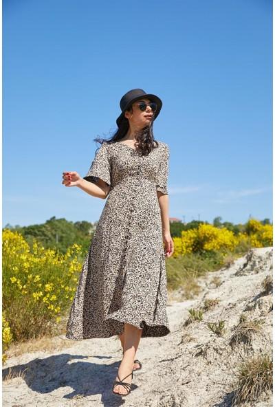 Seda Yalçın Atelier Gri Önü Düğmeli Çıtır Elbise
