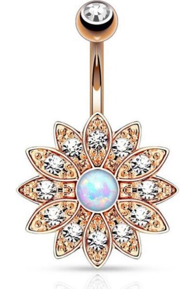 VipBT Lotus Opal Taşlı Cerrahi Çelik Göbek Piercing