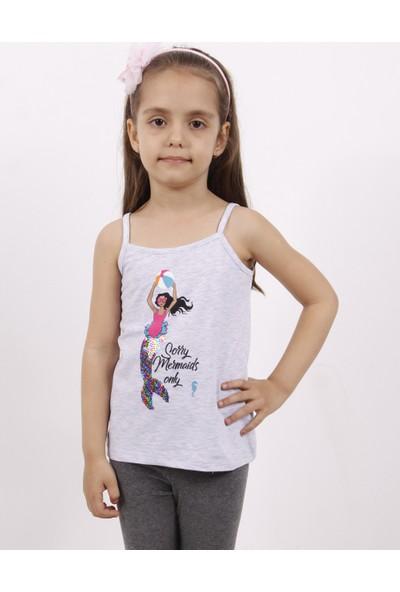 Toontoy Kız Çocuk Deniz Kızı Baskılı Pul Işlemeli Atlet
