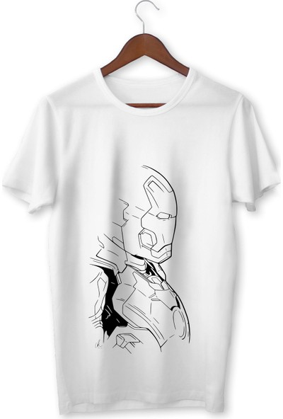 Vectorwear Ironman Karikatür Beyaz Çocuk Tişört