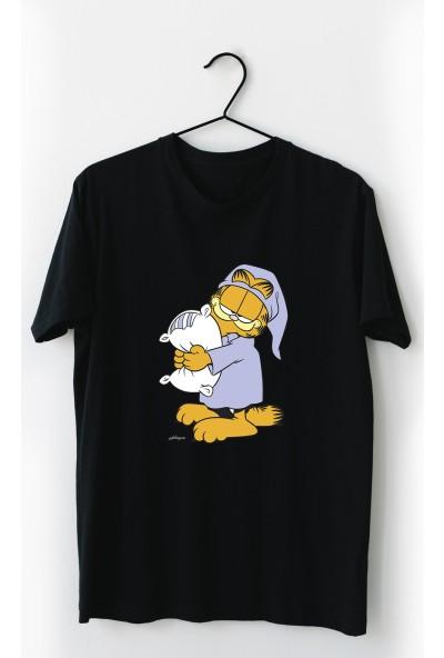 Vectorwear Uykucu Garfield Siyah Çocuk Tişört