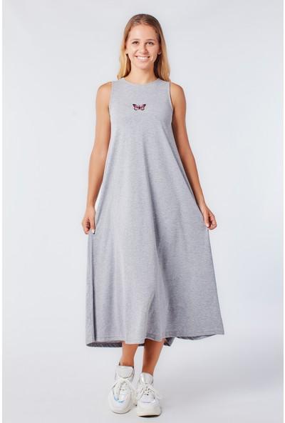 Coral 11242 Nakışlı Penye Elbise Gri