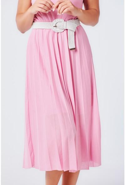 Coral 11263 Eteği Piliseli Örme Elbise Pembe