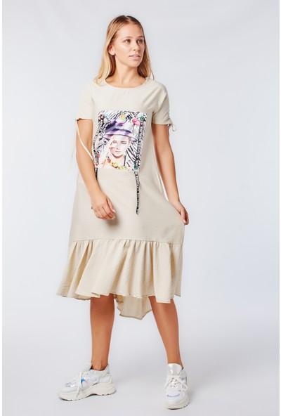Coral 2020-829 Baskılı Keten Elbise Taş
