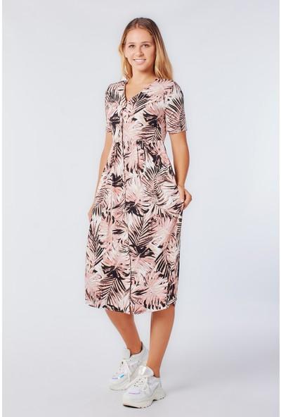 Coral 2020-848 Kısa Kollu Palmiye Desenli Elbise Pudra