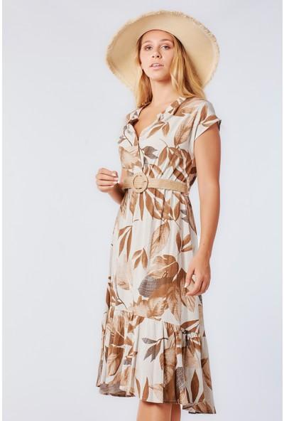 Coral 2020-860 Hasır Kemerli Palmiyeli Elbise Vizon