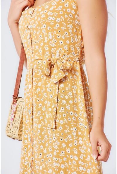 Coral 2020-871 Askılı Çiçek Desenli Elbise Hardal