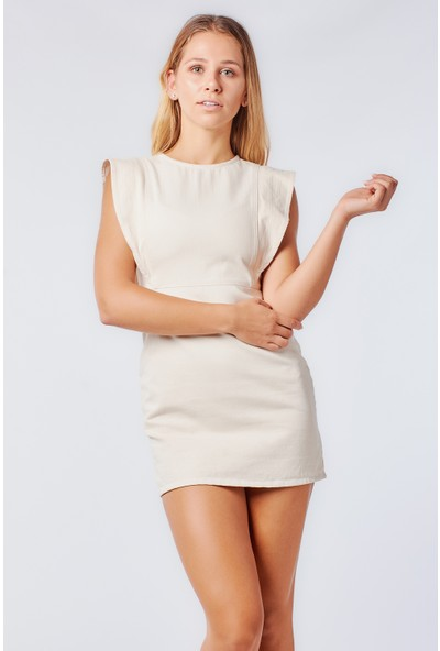 Coral 9306 Omzu Volanlı Elbise Ekru
