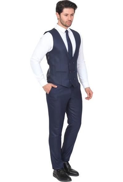 White Stone Yelekli Takım Elbise Slim Fit Desenli 6 Drop