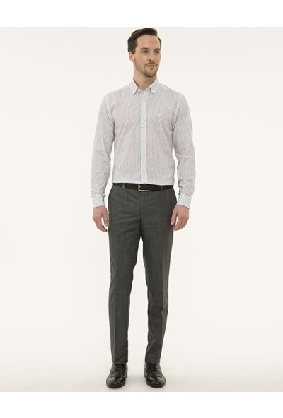 Pierre Cardin Erkek Siyah Detaylı Beyaz Slim Fit Gömlek 50227239-VR046