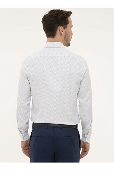 Pierre Cardin Erkek Lacivert Detaylı Beyaz Slim Fit Gömlek 50227325-VR033