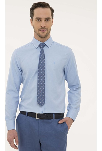 Pierre Cardin Erkek Mavi Slim Fit Gömlek 50227370-VR036