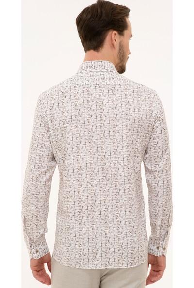 Pierre Cardin Erkek Kahverengi Slim Fit Gömlek 50227387-VR029