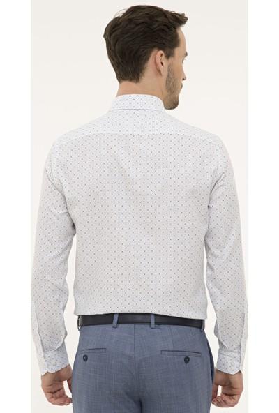 Pierre Cardin Erkek Lacivert Detaylı Beyaz Slim Fit Gömlek 50227328-VR033
