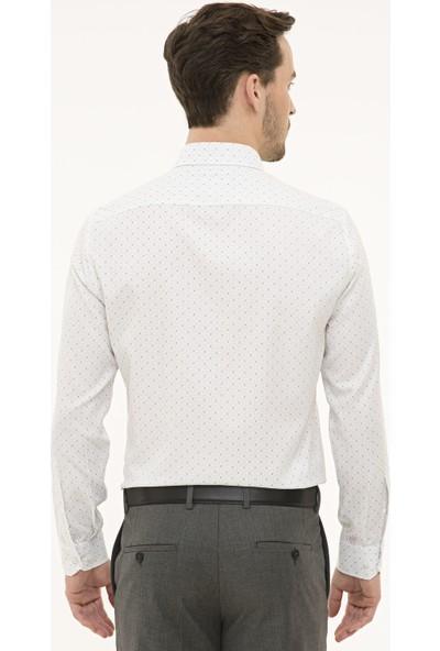 Pierre Cardin Erkek Yeşil Detaylı Beyaz Slim Fit Gömlek 50227328-VR054