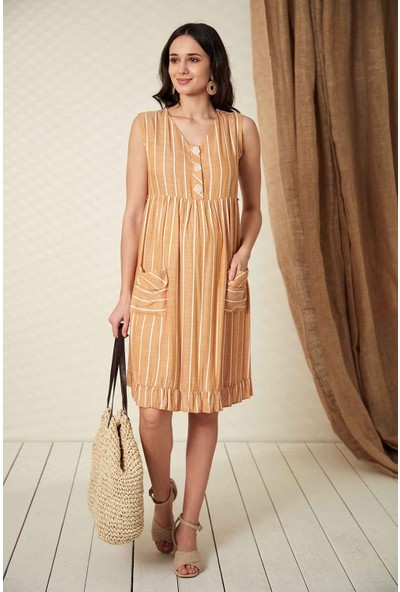 Gör&Sin Hamile Çizgili Düğme Detaylı Hamile Elbise