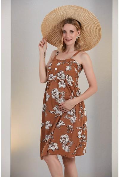 Gör&Sin Hamile Askılı Çiçek Desen Elbise