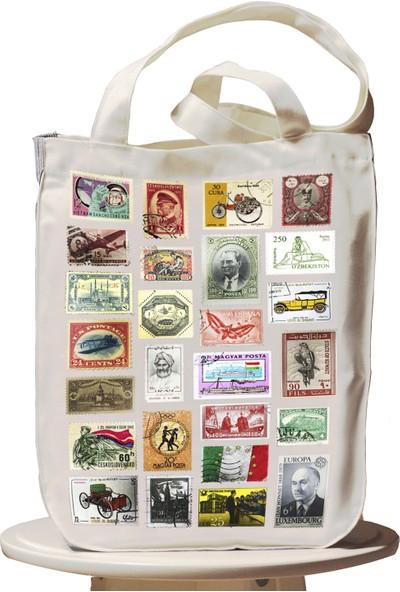 Bookbag Pul Koleksiyonu Doğal Keten Çanta