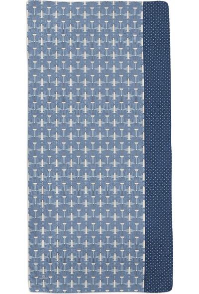 Lanjeron Puantiyeli Kafes Desenli Şal Mavi 390.992