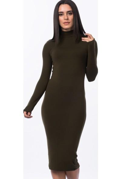Cotton Mood 147-CM-007-431588 Yarım Balıkçı Uzun Elbise Hakı