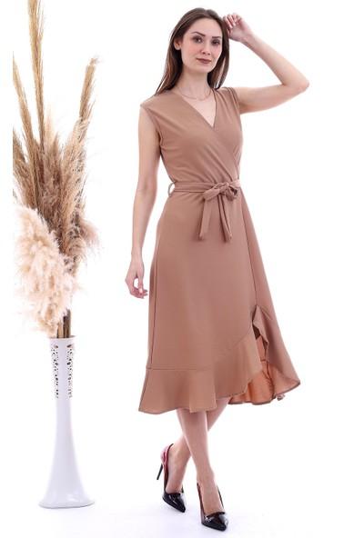 Cotton Mood 20060654 Örme Krep Kruvaze Yaka Eteği Volanlı Kolsuz Elbise Bisküvi