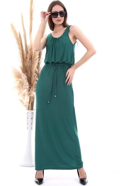 Cotton Mood 20060671 Viskon Beli Lastikli Yaka Büzgülü Kolsuz Uz. Elbise Benetton