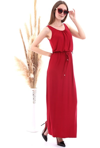 Cotton Mood 20060671 Viskon Beli Lastikli Yaka Büzgülü Kolsuz Uz. Elbise Bordo