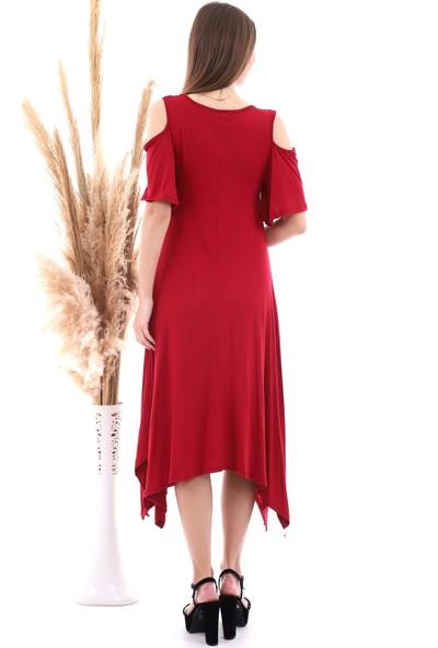 Cotton Mood 20060672 Viskon Omuzu Açık Kısa Kol Salash Çan Elbise Bordo