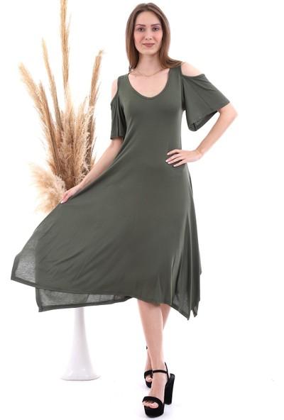 Cotton Mood 20060672 Viskon Omuzu Açık Kısa Kol Salash Çan Elbise Hakı