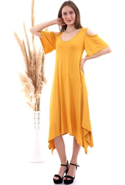 Cotton Mood 20060672 Viskon Omuzu Açık Kısa Kol Salash Çan Elbise Hardal