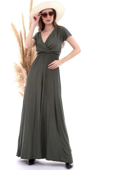 Cotton Mood 20060673 Viskon Beli Lastikli Kruvaze Yaka Kısa Kol Elbise Hakı