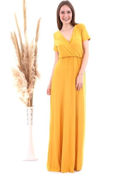 Cotton Mood 20060673 Viskon Beli Lastikli Kruvaze Yaka Kısa Kol Elbise Hardal