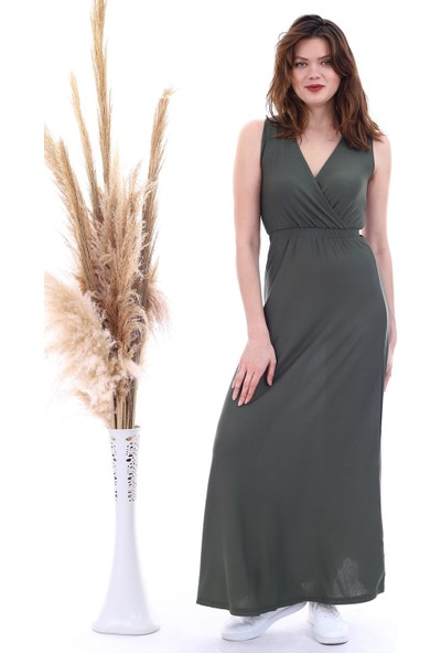 Cotton Mood 20060674 Viskon Beli Lastikli Kruvaze Yaka Kolsuz Uzunelbise Hakı