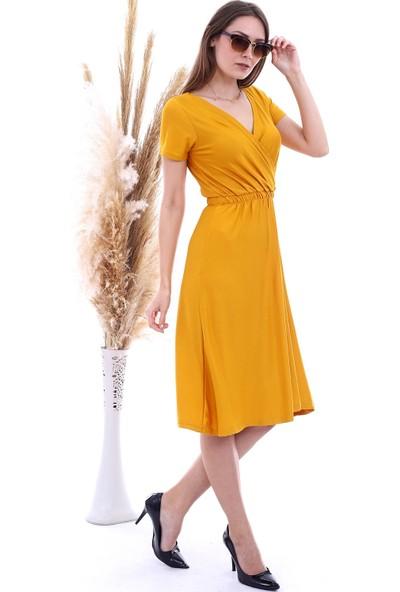 Cotton Mood 20060675 Viskon Kruvaze Yaka Kısa Kol Kısa Elbise Hardal