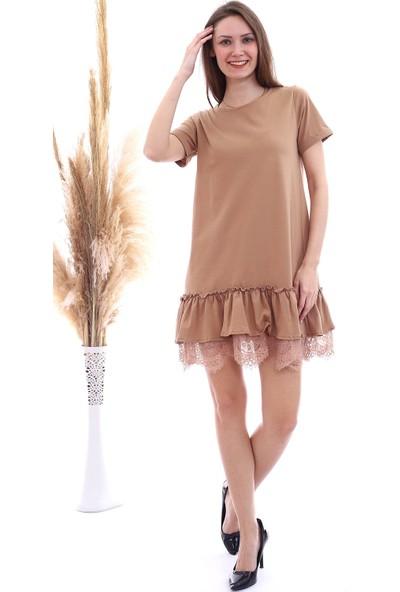 Cotton Mood 20063103 Süprem Eteği Dantelli Kısa Kol Elbise Bisküvi