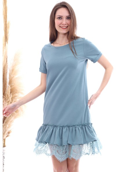 Cotton Mood 20063103 Süprem Eteği Dantelli Kısa Kol Elbise Cagla Yesıl