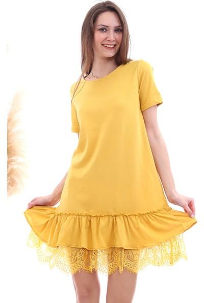 Cotton Mood 20063103 Süprem Eteği Dantelli Kısa Kol Elbise Hardal
