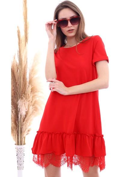 Cotton Mood 20063103 Süprem Eteği Dantelli Kısa Kol Elbise Kırmızı