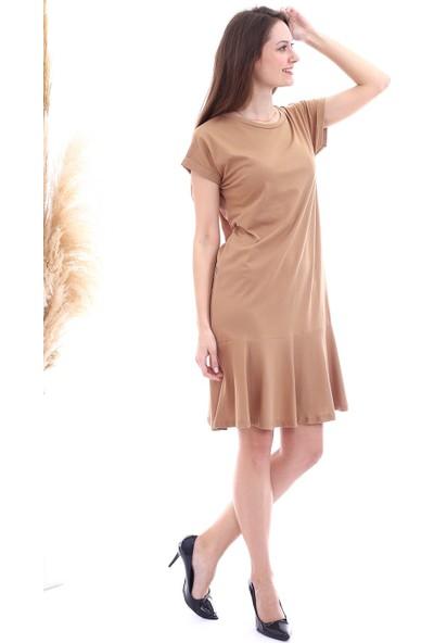 Cotton Mood 20063126 Süprem Eteği Volanlı Kısa Kol Elbise Bisküvi