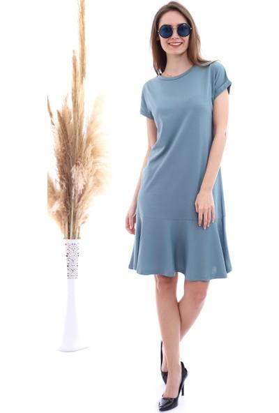 Cotton Mood 20063126 Süprem Eteği Volanlı Kısa Kol Elbise Cagla Yesıl